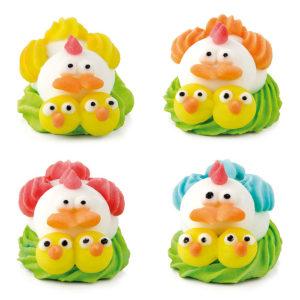 Figuras de azúcar gallinas con nido