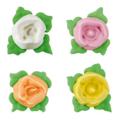 Figuras de rosas con hojas de azúcar