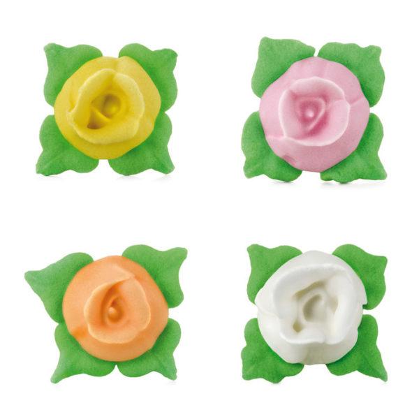 Figuras rosas pequeñas con hojas de azúcar