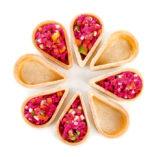 Tartaletas Gota formando una flor
