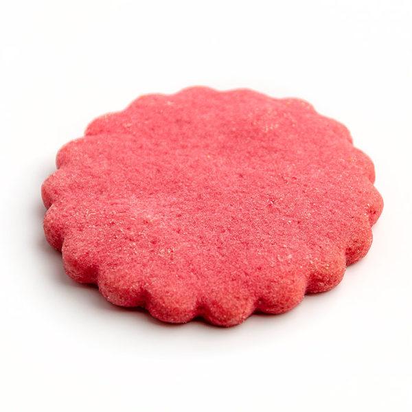Base redonda de pasta brisa 7 cm forma de flor y color rojo postres y elaboraciones
