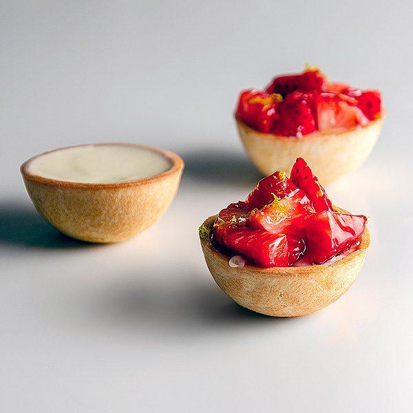 Tartaleta dulce forma semiesfera